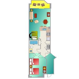Floor Plan for One Bedroom Oceanfront Unit