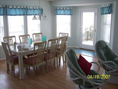 Emerald Isle house rental - Dining area with view of ocean but it didn't come out in picture