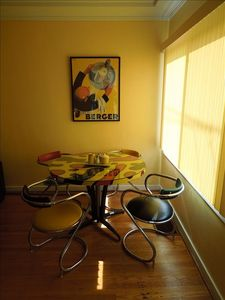 Even when it is cloudy this dining area is bright and sunny.
