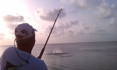Fishing for Tarpon at sunset right from the dock!