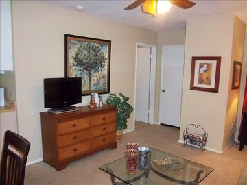 Aspen living room with ceiling fan, flat screen cable TV, DVD, stereo and more!
