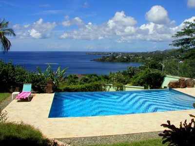 image for Airy villa, stunning views of Caribbean & Tobago, 30ft infinity pool. Beach near