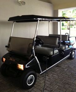 Six person golf cart available for you to get around...