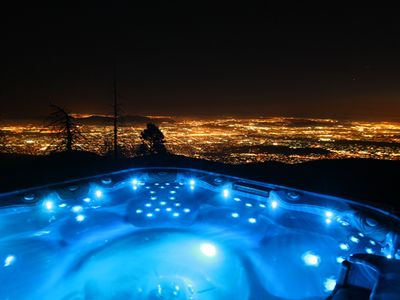 Night view from hot tub. You are seeing lights from Riverside and San Bernardino