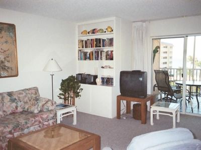 Main living area, pullout couch and love seat, with SPECTULAR view of gulf