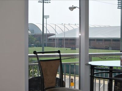 The view outside our patio corner - UA's indoor practice field.