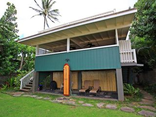 Haleiwa house photo - Two Stairways up to your Beachfront covered Lanai