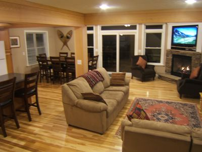Great Room leads out to large deck with great views inside and out