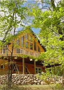 "New!! Log Chalet with ""Wall of Windows"" overlooking Lake Minong"