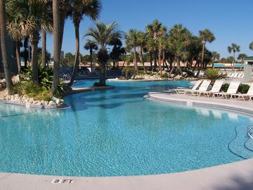 Long Beach Resort condo rental - 6500 Square Foot Lagoon Pool with Tropical Islands and Waterfalls