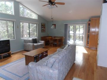 Dorrington cabin rental - Main room with vaulted ceiling, deck, and great view of trees!