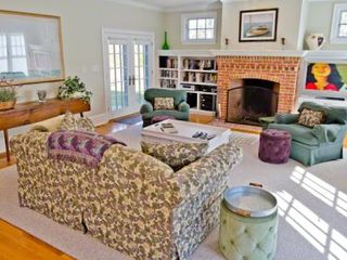 Vineyard Haven house photo - Martha's Vineyard Rental Vineyard Haven Beach House: Sunny Living Room Features Fireplace With Built-ins & Home Theater