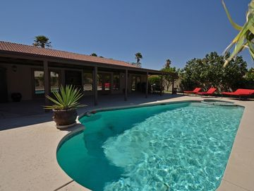 Palm Springs house rental - Huge beautiful heated pool and spa in completely private landscaped grounds.