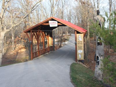 Cross over the covered bridge on your way into or out of Dogwood Cabin.