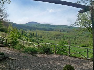 View from the terrace onto the Monte Amiata