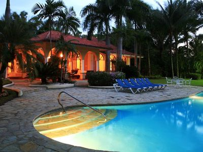 Sosua villa rental - Evening photo, pool area