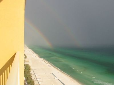 A beautiful rainbow from the balcony--what a view!!
