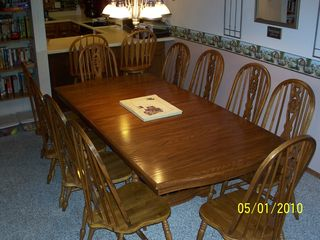 Branson townhome photo - Family dining for 10 and serv for 14. Add'l seating at a bistro table and cd tbl