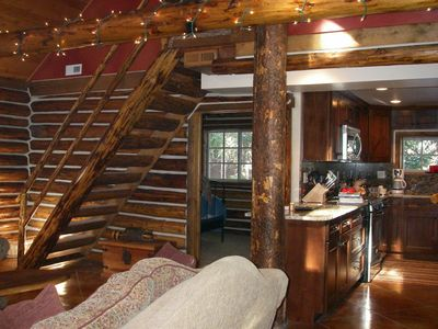 Original log stairs are very steep and can challenge the very young or very old.