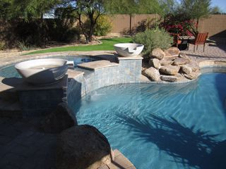 Scottsdale house photo - Hot Tub with over flow into pool.