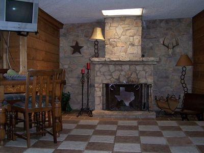 Western style decor with rock fireplace