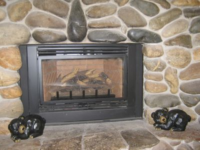 New gas fireplace with sleeping bears!