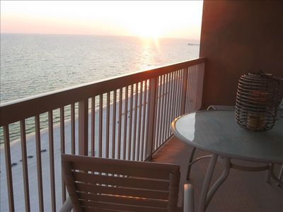Enjoy sunsets on the balcony.