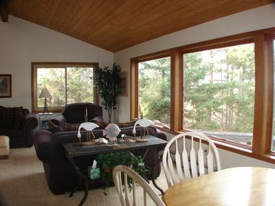 Living Room with Huge Windows Overlooking Lake Superior