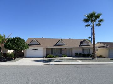 Hemet house rental - Front of home on quiet street with Palm Tree and Orange Tree