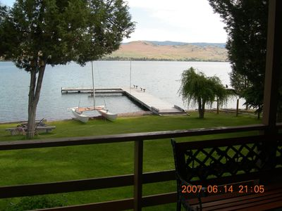 View of the dock and lake from the deck