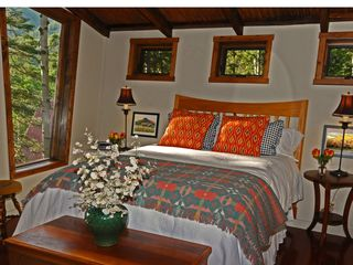 Taos Ski Valley house photo - Master Bedroom: queen bed with picture window sunset view