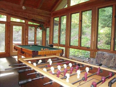 Sunroom w/pool table, hide-a-bed, foosball and door to Hot Tub
