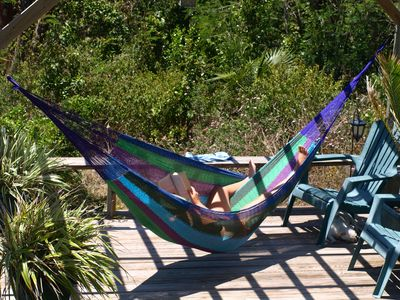 Easy to fall asleep in the moondeck hammock reading your favorite books