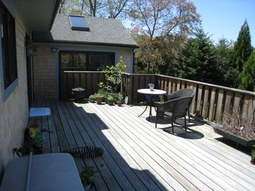 The main deck over looking the back lawn and Old Red Barn