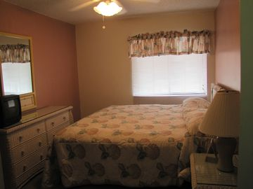 3rd bedroom with king size bed, walk-in closet, small TV and DVD player.