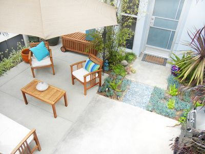 Sunny private patio outside your door