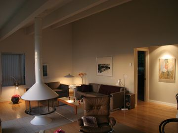 Point Roberts house rental - Living area with birdcage wood fireplace. Super cozy in the winter months.