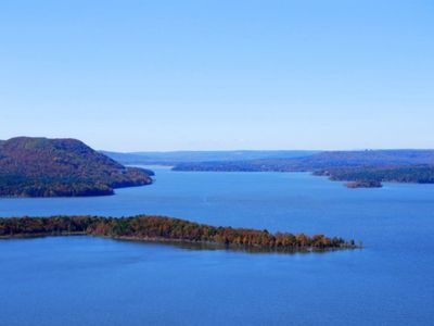 West view of Greers Ferry Lake from the top of Sugar Loaf Mountain