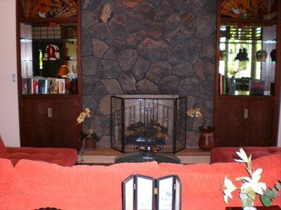 Gather Around the Lava Rock Fireplace