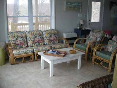 Cape Charles house rental - The Lounge off the kitchen with water views to the west and north.
