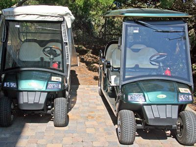Newer 4 and 6 seat deluxe carts. Weather enclosure,am/fm/cd,wipers,seat belts,++