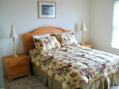 Upstairs there's a master suite with a queen bed and full bath....