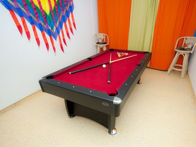 Games room with pool table, ping pong & darts