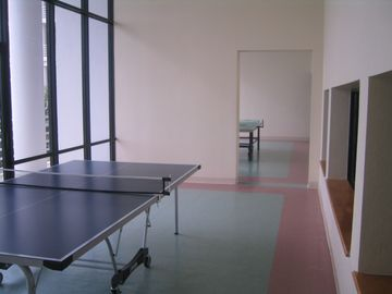 Two Ping pong tables with balls and paddles available in the lobby.