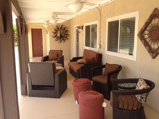 Palm Springs house photo - Plenty of seats under Lanai with three ceiling fans and misting system