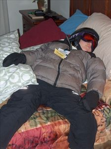 Rough day on the slopes - pooped out!