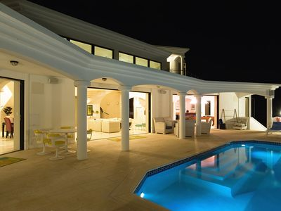 pool and pool deck at night