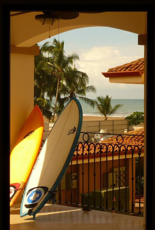 Surfboards waiting to go out on a beautiful Jaco morning.