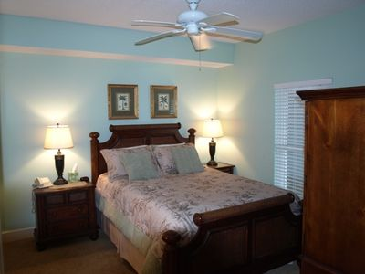 Master BR, Queen bed, cabinet w/32'' flat screen, closet and bathroom on left.