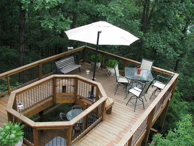 Two stacked decks with a great lake view adds to the joy of the great outdoors.